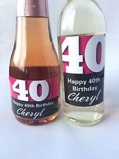 10x PERSONALISED 40th BIRTHDAY MINI WINE & CHAMPAGNE BOTTLE LABELS