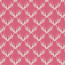 Lewis and Irene Walk In The Glen Antlers on Pink Cotton Fabric