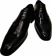 Men's Ronaldo Handmade Solid Black Italian Leather Oxford Tie Dress Shoes $
