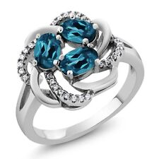 1.87 Ct Oval Natural London Blue Topaz 925 Sterling Silver Ring