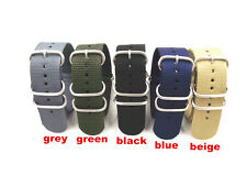 NATO G10 Nylon Strap Strong Watch Band 5 ring buckle silver polished 18-24 Dia