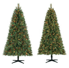 6.5 Ft Crestwood Pine PVC Christmas Tree with Clear or Multicolor Lights + Stand
