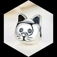 Curious Cat Face  Charm Bead Authentic 925 Sterling Silver love my Pet Animal