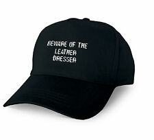 BEWARE OF THE LEATHER DRESSER PERSONALISED BASEBALL CAP LEATHER DRESSER XMAS GIF