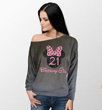 Customized Disney inspired Birthday Girl with glitter Minnie long sleese top