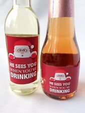 10x HE SEES YOU WHEN YOU'RE DRINKING SANTA MINI WINE & CHAMPAGNE BOTTLE LABELS
