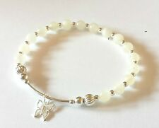 925 sterling silver gemstone bracelet various moonstone with heart or butterfly
