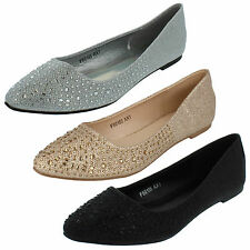 Damas Anne Michelle Plano Purpurina Zapatos con correa diamante estilo f80185