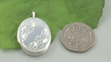 Sassi SL1019 Ladies Medium Size 925 Sterling Silver Half Engraved Oval Locket