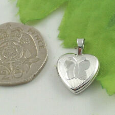 Sassi SL1037 Small Sterling Silver Engraved Butterfly Design Heart Shape Locket