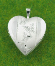 Sassi SL1012 Medium 925 Sterling Silver Butterflies Engraved Heart Shaped Locket