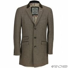 Mens Tan Brown Long Coat Wool Mix Herringbone Tweed Vintage Trench Winter Jacket