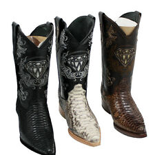 Men's Snip Toe Genuine Python Skin Leather Cowboy Western Boots Style Pytho
