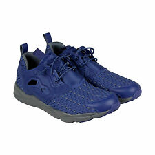 Reebok Furylite New Woven Mens Blue Mesh Lace Up Sneakers Shoes