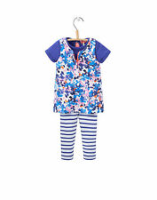 Joules Baby Girls Pinafore, T-Shirt And Leggings Set - Ditsy