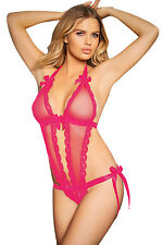 Hot Pink Seductive Peep Hole Teddy Bow lace and Satin Halter neck   LC32011-6