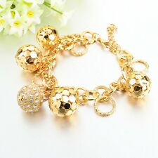 Strand Bracelet Silver Gold Plated Bracelets Hollow Ball Crystal Pendant 4 Women