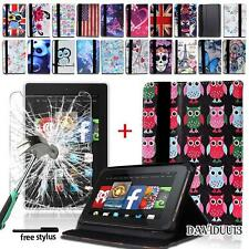 "LEATHER STAND CASE For 7"" 8"" Amazon Kindle Fire +Tempered Glass Screen Protector"