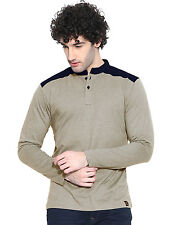 Cult Fiction men's Brown Marl Henley Neck Full Sleeve T-Shirt (CFM04BRM788)