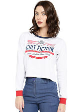 Cult Fiction women's White Marl Round Neck Cotton T-Shirt (CFG44WHM812)