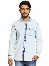 Noble Faith Men's Ice Blue color 100% Cotton Full Sleeves Shirt (NF16MSH014A)