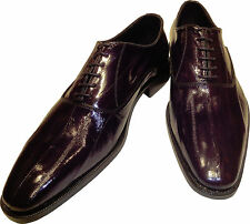 EEL SKIN Men's Ronaldo Handmade Solid Dark Wine Italian Leather Oxford Shoe
