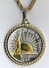 1986 Statue Of Liberty Half Dollar Silver & 24k Gold Plated Coin Necklace #2