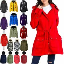 Womens Ladies Parka Trench Long Fishtail Hooded Faux Fur Brave Soul Coat Jacket