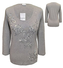 Jersey Para Mujer Top Camiseta Blusa Gris Brezo Ropa Talla 10 By Together