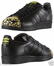 ADIDAS ORIGINALS SUPERSTAR MEN's CASUAL M LEATHER BLACK - GOLD AUTHENTIC NE