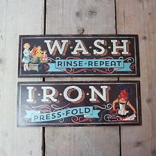 Shabby Vintage Retro Metal Plaque Laundry Wash Iron Black Tin Door/Wall Sign