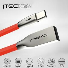 TYPE C 3.1 USB-C ITEC 3D ZINC ALLOY CABLE DATA SYNC CHARGER LEAD ADAPTER RED