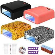 AMOS UV Lamp Nail Dryer Light 36W Gel Polish Varnish Art Curing Timer 4 x Bulbs