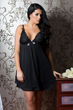 Perfect4U Double Layer Fab Plus Size Black Lace Nightwear 18,20,22,24,26,28