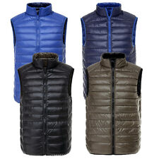 Mens Reversible 90% Duck Down Puffer Ultra Light Vest Sleeveless Waistcoat Gilet
