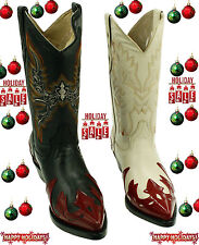 Men's Genuine Soft Leather Western Cowboy boots With Design Only $79.99