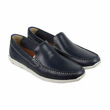 Clarks Karlock Lane Mens Blue Leather Casual Dress Slip On Loafers Shoes