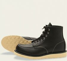 Red Wing  Mens Boots 8130 Moc Toe Heritage Work Black Chrome -Black