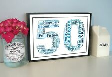Personalised Word Art On Metal Sign, Framed Photo Collage, Print, Numbers