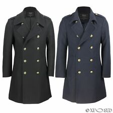Mens Vintage Military Style Wool Mix Double Breasted Jacket Overcoat Black Navy