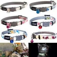 ROGZ GLOWCAT CAT COLLAR WITH BREAKAWAY SAFETY BUCKLE AND GLOW IN THE DARK FABRIC