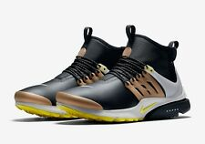 Nike Air Presto Mid Utility Mens Size Running Shoes Black Yellow Gold 85952