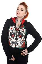 Sugar Candy Skull And Red Roses Punk Gothic Emo Hoodie By Banned Apparel