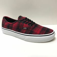 VANS AUTHENTIC PLAID FLANNEL RED TRUE WHITE TRAINERS