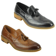 New Mens Real Leather Tassel Brogue Vintage Smart Casual Loafers Shoes Tan Black
