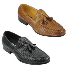 Mens Hand Small Woven Real Leather Tassel Loafers Smart MOD Vintage Shoes