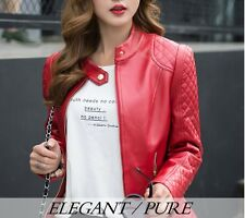 Red solid full sleeve autumn Women's Stylish Slim Fit Faux Leather Jacket/Coat