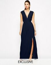 LOVE EXCLUSIVE Plunge Neck Maxi Dress With Open Back And Thigh Split Sizes 10