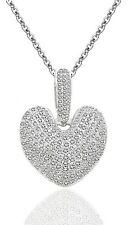 Sterling Silver Cubic Zirconia Pave Setting CZ Hollow Heart Pendant Necklace