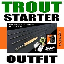 SALT & TROUT FLY FISHING STARTER COMBO OUTFIT rod reel line backing leader